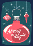 Christmas greeting card with Christmas ornaments. Mid century style. Vector illustration. - 178469852