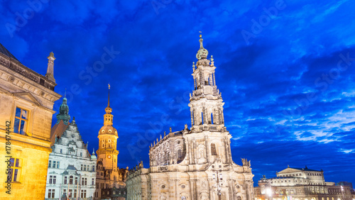 In de dag Donkerblauw Dresden, Germany. Old town at night
