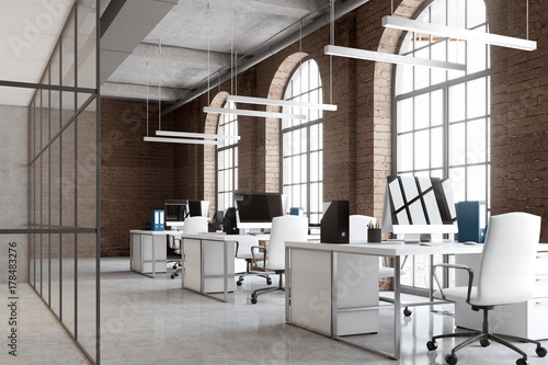 Brick office, arch windows, computers side