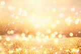 glitter vintage lights background. dark gold and black. de focused. - 178487049