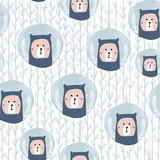 Seamless pattern with cute bear in christmas bal.Perfect for festive winter fabric,textile.Vector background - 178487218