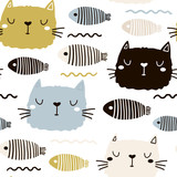 Seamless childish pattern with cute cat face and fish. Creative nursery background. Perfect for kids design, fabric, wrapping, wallpaper, textile, apparel - 178487232
