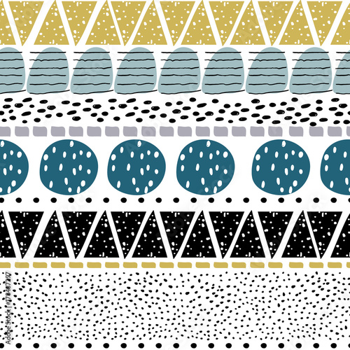 Seamless abstract pattern with hand drawn shapes and elements. Creative Vector trendy texture - 178487297