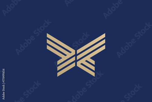Gold Butterfly abstract Logo design vector Linear Luxury Fashion - 178491656