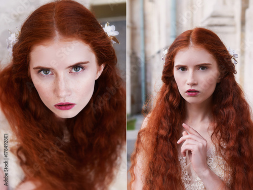 Plakát Beautiful red-haired girl with long curly hair in the bride, in a long lace dress