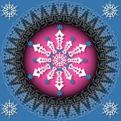 Abstract vector Christmas illustration. Circular pattern of Christmas symbols