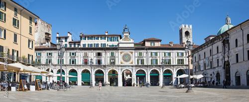 BRESCIA, ITALY - MAY 20, 2016: The panorama of Piazza della Loggia square.