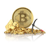 Bitcoin standing on a golden stones with pickaxe for mining of cryptocurrency.