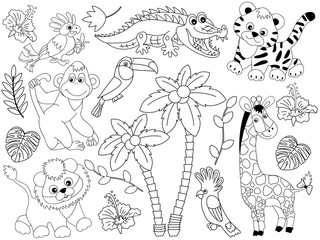 Vector Set of Safari Animals and Birds. Vector Jungle Animals and Birds