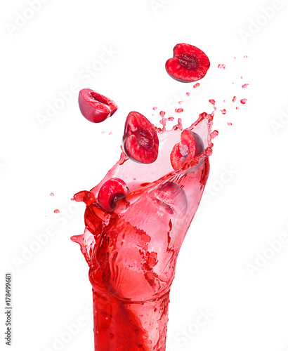 Plexiglas Kersen Splash of cherry juice in a glass with a cherry isolated on white background