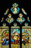 Vidriera de la Natividad, París, Iglesia de San Severin, Francia