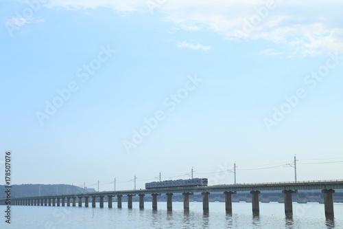 Fotobehang Lichtblauw 鉄道