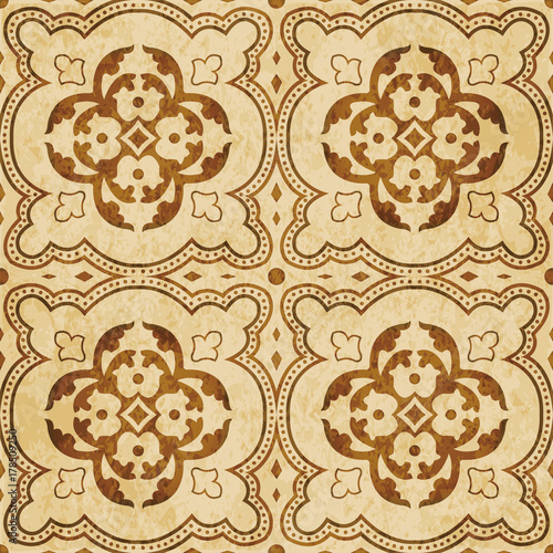 Retro brown watercolor texture grunge seamless background round curve dot line cross leaf flower - 178509250