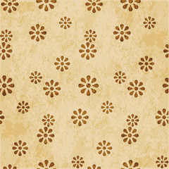 Retro brown watercolor texture grunge seamless background cute daisy flower