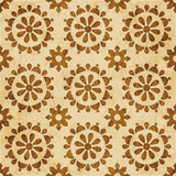 Retro brown watercolor texture grunge seamless background round cross flower