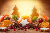 Christmas decoration with mandarins.