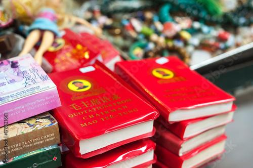 Chairman Mao's Little Red Book on sale at Upper Lascar Row street market, Sheung Wan, Hong Kong