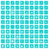 100 oceanology icons set grunge blue - 178526255