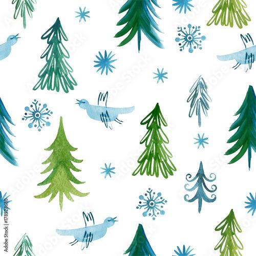 Materiał do szycia Christmas trees, seamless pattern