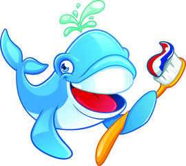Cute Whale with a Toothbrush Cartoon Character