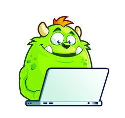 Cute cartoon monster with laptop
