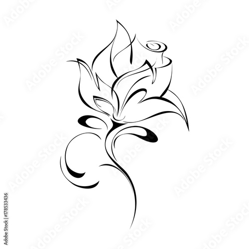 ornament 159. stylized rose in black lines on a white background