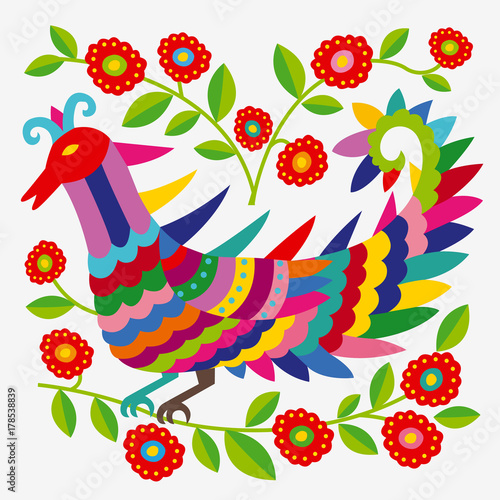 Mexican colorful and ornate ethnic pattern. Embroidery with birds and flowers on the light background. - 178538839