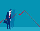 Businessman standing and look a declining chart. Concept business vector illustration. - 178542463