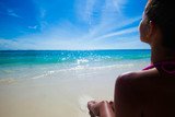 Woman relaxing on beach - 178547405