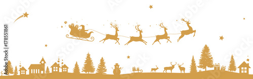 Christmas landscape with flying sleigh - 178551861