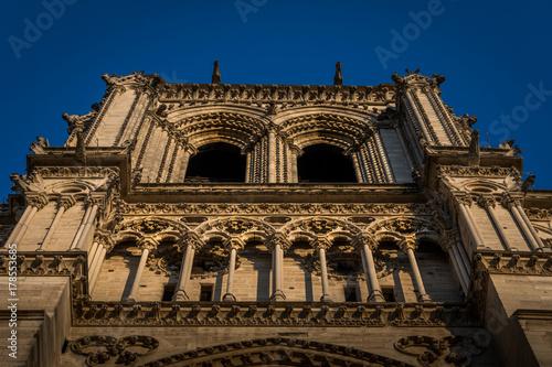 Notre-Dame de Paris, a medieval Catholic cathedral on the Île de la Cité in the fourth arrondissement of Paris, France.