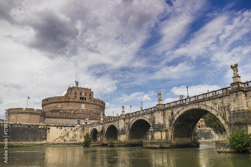 Castello di Sant Angelo and bridge over the Tiber river in Rome, Italy Poster