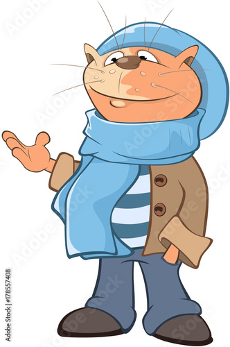 Foto op Canvas Babykamer Illustration of a Cute Cat. Cartoon Character