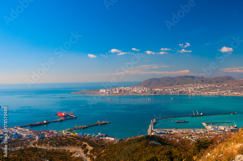 View above on sea port Poster