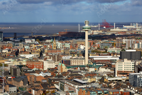 Liverpool city aerial panorama view Poster