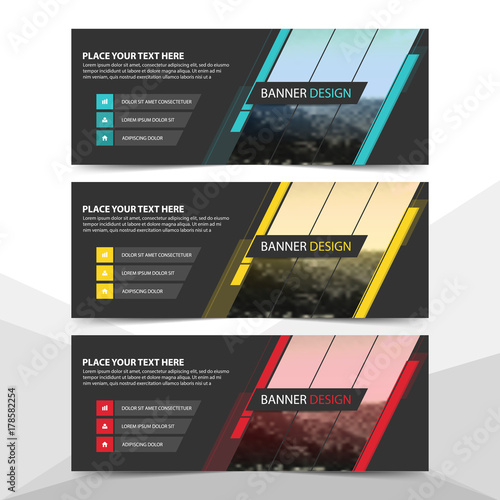 Blue Yellow Red abstract corporate business banner template, horizontal advertising business banner layout template flat design set , clean abstract cover header background for website design