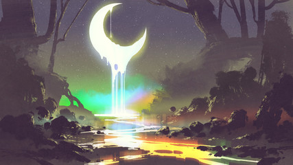 night scenery showing melting moon creates a glowing river, digital art style, illustration painting © grandfailure