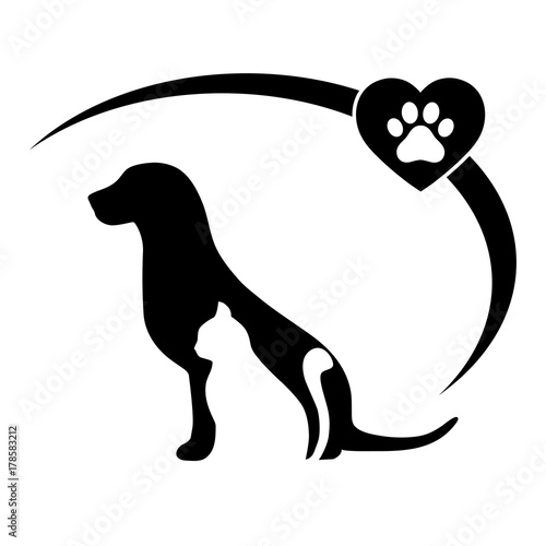 Fototapeta emblem of a cat with a dog on a white background
