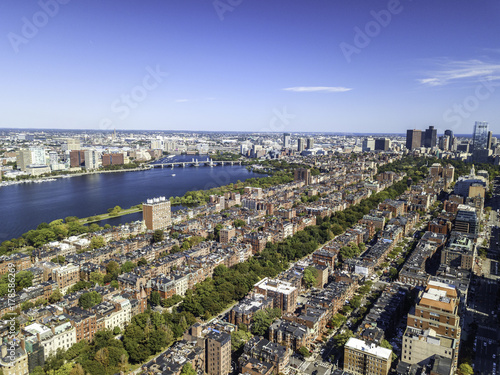 In de dag Parijs Boston, Massachusetts, USA city skyline aerial panorama view with urban buildings midtown