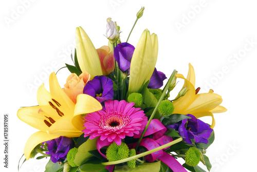 Fotobehang Gerbera bouquet of flowers happy birthday