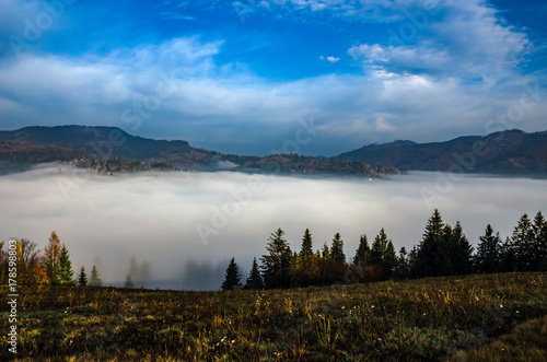 Papiers peints Bleu jean Foggy morning in the Ukrainian Carpathian Mountains in the autumn season