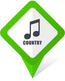 Music country green square pointer web and mobile phone vector icon in eps 10 on white background with shadow - 178600818