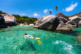 Woman snorkeling at tropical water - 178615429