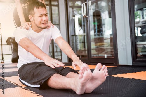 Poster Exercise with trainer for good health, fit and firm