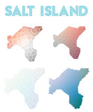 Salt Island polygonal island map. Mosaic style maps collection. Bright abstract tessellation, geometric, low poly, modern design. Salt Island polygonal maps for infographics or presentation. - 178625481