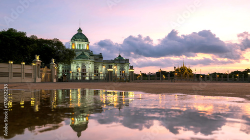 Foto op Plexiglas Bangkok Bangkok City - Dusit Palace , Ananta Samakom Throne Hall in Bangkok , beautiful sunset , Landscape Thailand