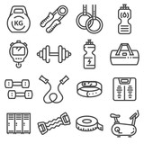 Vector line fitness and sport icons set - 178636820