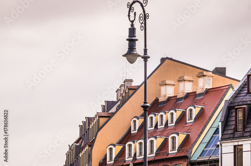 old house and a street lamp. Streets in the Czech Republic Poster