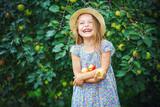 Happy little girl holding apples in the garden - 178637671