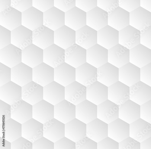 Light grey seamless vector hexagonal pattern background. - 178645826